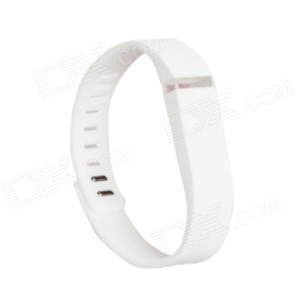 Replacement Large Sports TPE + TPU Wrist Band w/ Clasp for Fitbit Flex Smart Bracelet - White