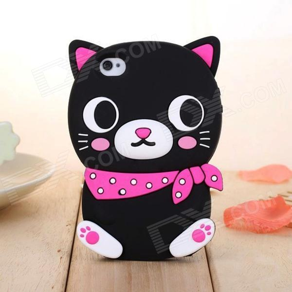 ZIQIAO Cute Cartoon Cat Style Protective Silicone Back Case for IPHONE 5 / 5S - Black + Deep Pink ziqiao cartoon cat style protective soft silicone back case for iphone 4 4s black red