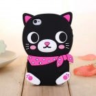 ZIQIAO Cute Cartoon Cat Style Protective Silicone Back Case for IPHONE 5 / 5S - Black + Deep Pink