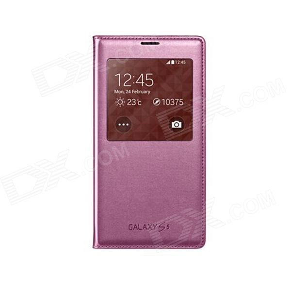 Genuine Samsung S-View Flip-open Wallet Case w/ Auto Sleep for Samsung Galaxy S5 - Pink pu leather flip open case w auto sleep chipset display window for samsung galaxy s5 pink
