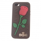 Love Rose Style Protective Silicone Back Case for IPHONE 5 / 5S - Brown + Red + Green