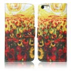Flowers Pattern Flip Open PU + Silicone Case w/ Stand / Card Slots for IPHONE 5 / 5S - Yellow
