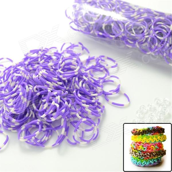 DIY Elastic Silicone Band + S Hook Set for Children - White + Purple 3 pieces set princess girls flowers headband with nylon elastic band photography props for newborn hair accessories hair bands