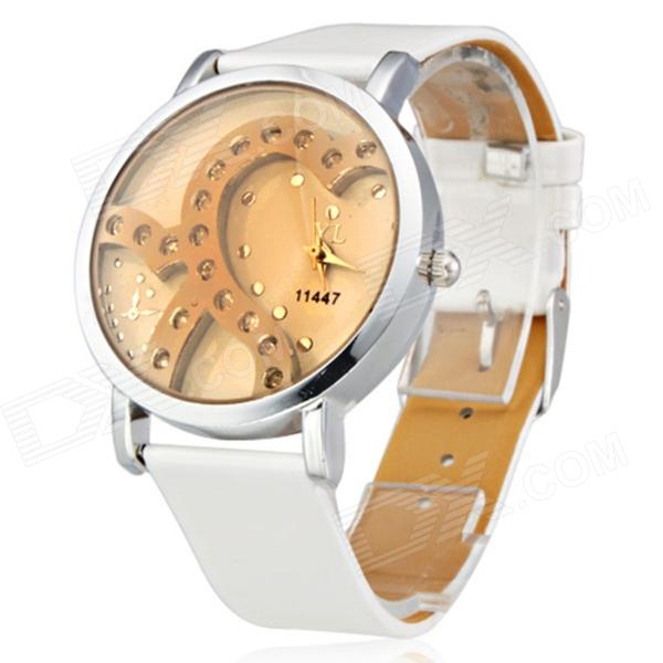 Women's Fashionable PU Band Analog Quartz Wrist Watch - White + Golden (1 x 377)