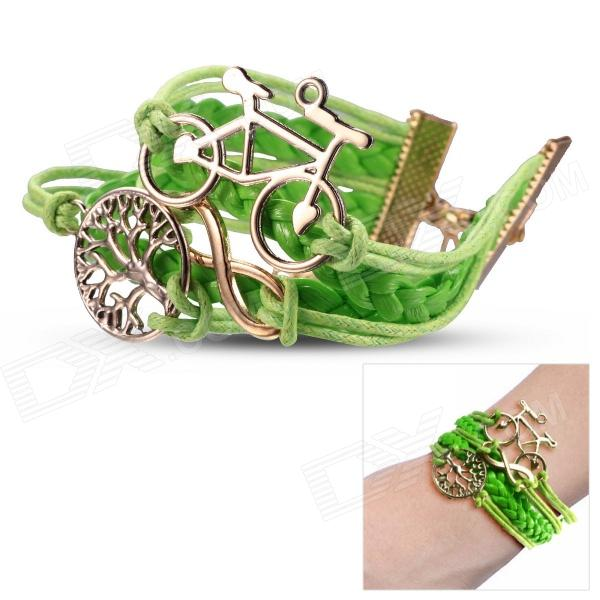 eQute Women's Fashionable Bicycle + Tree Style Handmade Braided Rope Bracelet - Green