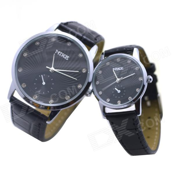MIKE 8207 PU Leather Band Analog Quartz Wrist Couple's Watch - Black (Pair) weide brand irregular man sport watches water resistance quartz analog digital display stainless steel running watches for men