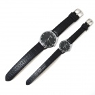 MIKE 8207 PU Leather Band Analog Quartz Wrist Couple's Watch - Black (Pair)