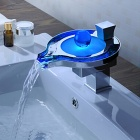 YDL-F-0578 Temperature Control LED Blue / Green / Red Bathroom Basin Faucet - Silver + Light Blue