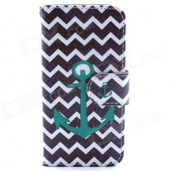 Anchor Pattern Flip-open PU Leather Case w/ Stand / Card Slots for IPHONE 5 / 5S - Black + Green anchor