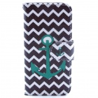 Anchor Pattern Flip-open PU Leather Case w/ Stand / Card Slots for IPHONE 5 / 5S - Black + Green