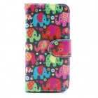 Elephant Pattern Flip-open PU Leather Case w/ Stand + Card Slot for IPHONE5 / 5S