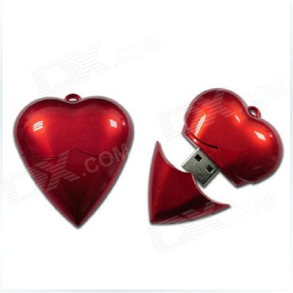 AX-520 Heart Shaped Necklace Style USB 2.0 Flash Drive w/ Indicator - Red (64GB) heart shaped usb 2 0 flash jump drive necklace 4gb