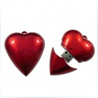 AX-520 Heart Shaped Necklace Style USB 2.0 Flash Drive w/ Indicator - Red (64GB)