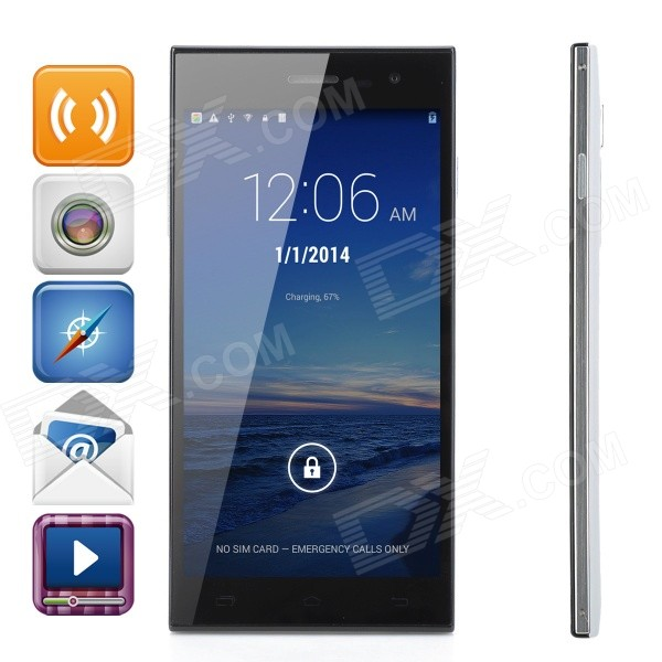 MTK6582 Quad-Core Android 4.2.2 WCDMA Phone w/ 5.5 Capacitive, GPS, Wi-Fi, Dual Camera - White сапоги baldinini сапоги на каблуке