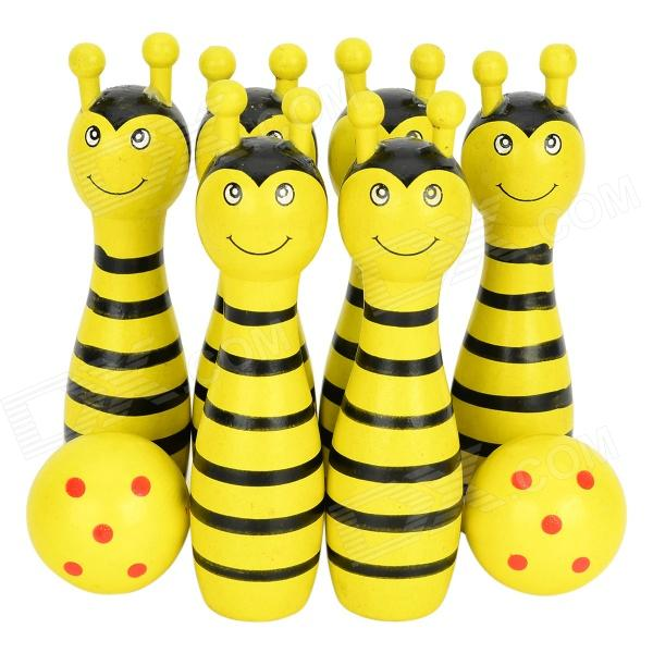 Bee Style Wood Bowlings + Softballs Toy Set for Children - Black + Yellow dynamic web service composition using google api crawling