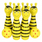 Bee Style Wood Bowlings + Softballs Toy Set for Children - Black + Yellow