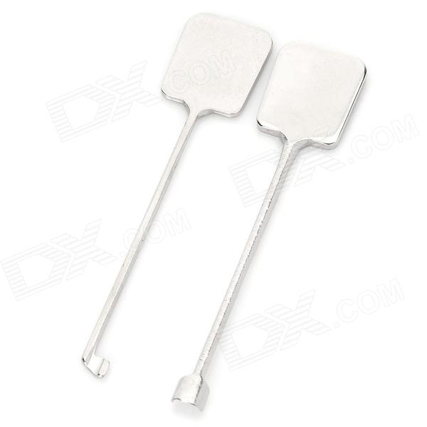 B054 2-in-1 Steel Indoor Door Key Unlocking Pick Set - Silver