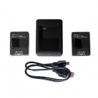 Fat Cat Smart Fast Dual Charger + 2 x 1650mAh AHDBT-302 Batteries Travelling Set for GoPro Hero3+/3