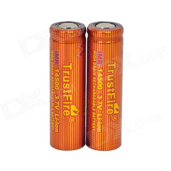 TrustFire High-rate Discharge 3.7V 700mAh 10C Lithium-ion 14500 Batteries - Red + Orange (2 PCS) goop cr2025 3v lithium cell button batteries 5 x 10 pcs