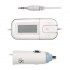 "T-1302 1.2"" LCD Screen Car Audio FM Transmitter w/ Car Charger Adapter, 3.5mm Plug - White"