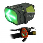 BIKEMAN Waterproof Nylon Tail Bag w/ LED Warning - Gray + Green