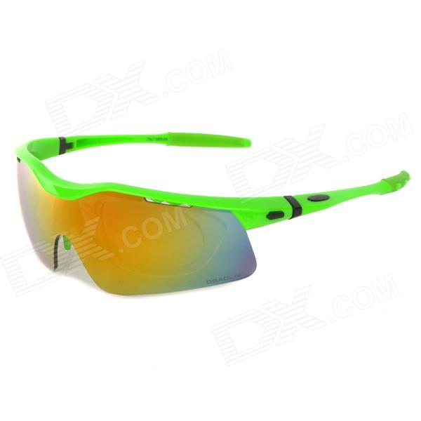 OBAOLAY SP0875 PC Frame Resin Lens UV400 Protection Sports Cycling Sunglasses Goggles - Green uv400 protection pc lens resin frame sunglasses goggles set silver frame