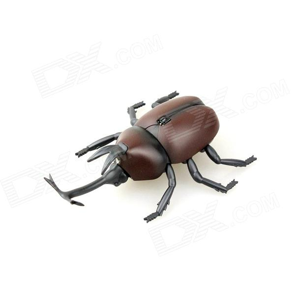 Lifelike 360' Rotating Infrared Remote Beetle w/ LED Eye Toy - Coffee