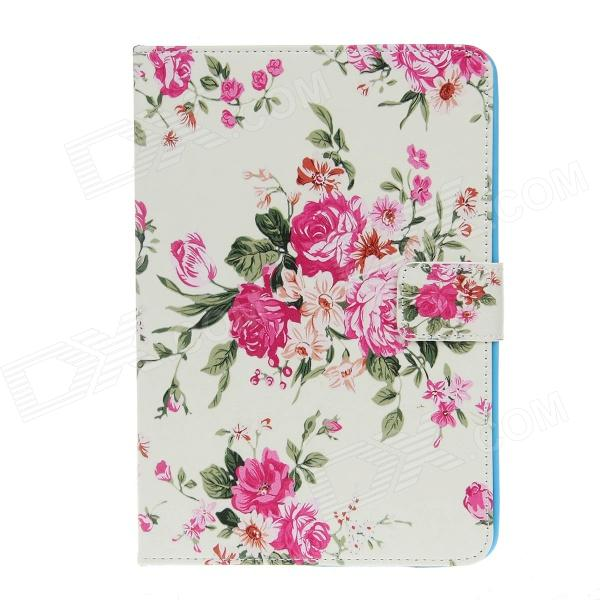 Stylish Floral Pattern Protective PU Leather Case w/ Auto Sleep for IPAD AIR - Pink + Multicolored