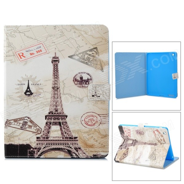 Stylish Tower Pattern Protective PU Leather Case w/ Auto Sleep for IPAD 2 /3/4 - Gray + White