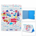 Cartoon Pattern Stylish Protective PU Leather Case for IPAD 2 / 3 / 4 - White + Multicolored