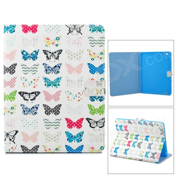 Buttefly Pattern Stylish Flip Open PU Leather Case w/ Stand for IPAD 2 / 3 / 4 - White + Multi-Color стабилизатор sven vr a3000 sv 014940