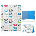 Buttefly Pattern Stylish Flip Open PU Leather Case w/ Stand for IPAD 2 / 3 / 4 - White + Multi-Color