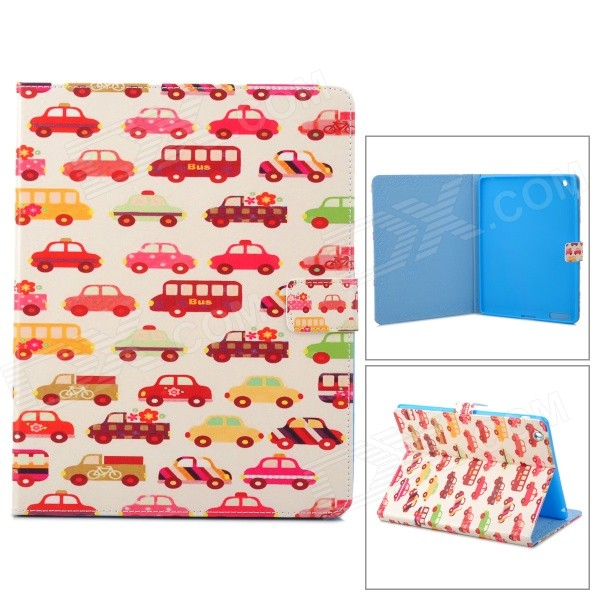 все цены на Car Pattern Stylish Protective PU Leather Case w/ Stand for IPAD 2 / 3 / 4 - Red + Multicolored онлайн