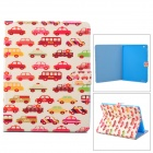Car Pattern Stylish Protective PU Leather Case w/ Stand for IPAD 2 / 3 / 4 - Red + Multicolored