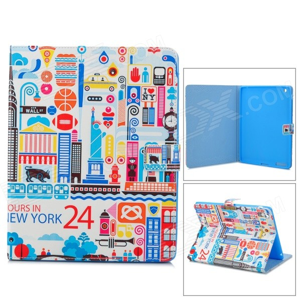 Stylish Patterned Protective PU Leather Case w/ Auto Sleep for IPAD 2 / 3 / 4 - Blue + Multicolored