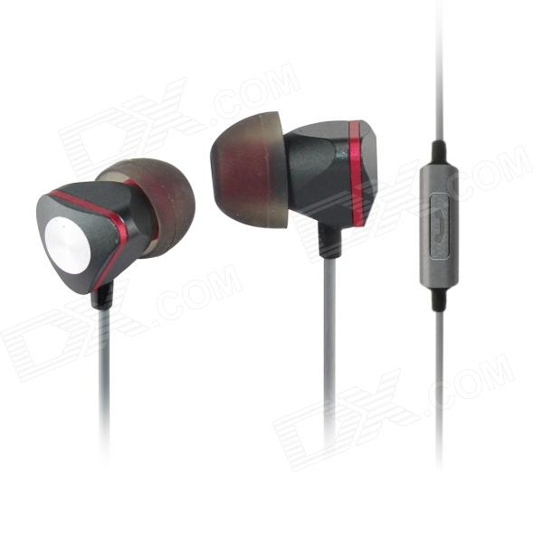 AIDEIDAI M604 3.5mm In-Ear Headphones w/ Mic for IPHONE / Samsung / HTC Phone - Black + Red