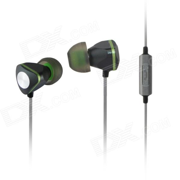 AIDEIDAI M604 3.5mm In-Ear Earphone w/ Mic for IPHONE / Samsung / HTC - Black + Green