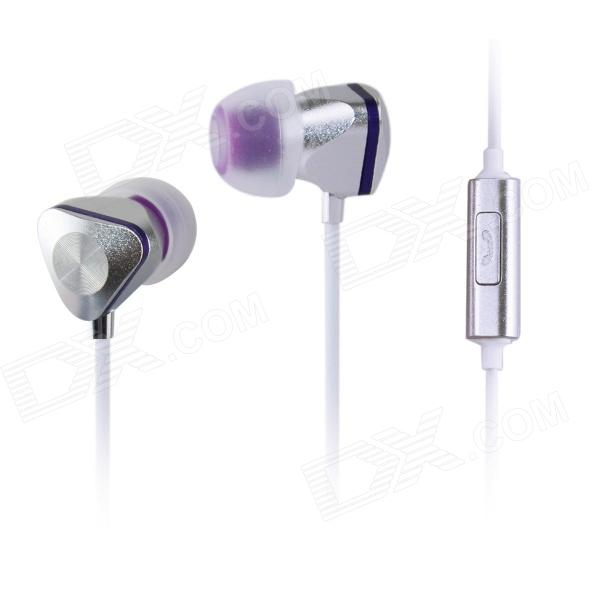 AIDEIDAI M604 3.5mm In-Ear Earphone w/ Mic for IPHONE / Samsung / HTC - Silver + Purple