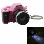 Camera Style LED White Flashlight Keychain w/ Sound - Pink+ Purple (3 x AG10)