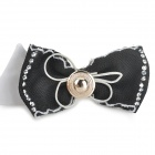Decorative Cotton Bow Tie Necklace for Pet Dog - White + Black (M)