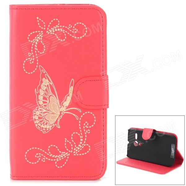 Protective Butterfly Style Flip Open PU Case w/ Stand + Card Slot for Motorola MOTO G - Red