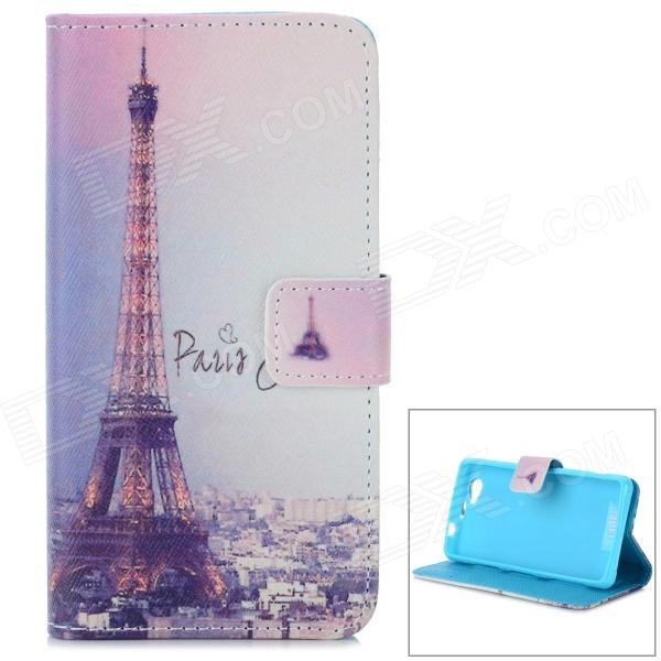 Eiffel Tower Pattern Flip Open Case w/ Stand / Card Slot for Sony Xperia Z1 Mini / D5503 / Xperia Z1 mini portable 5w usb led light bulb 360 degree energy saving outdoor emergency lamp pc laptop computer power bank reading bulb