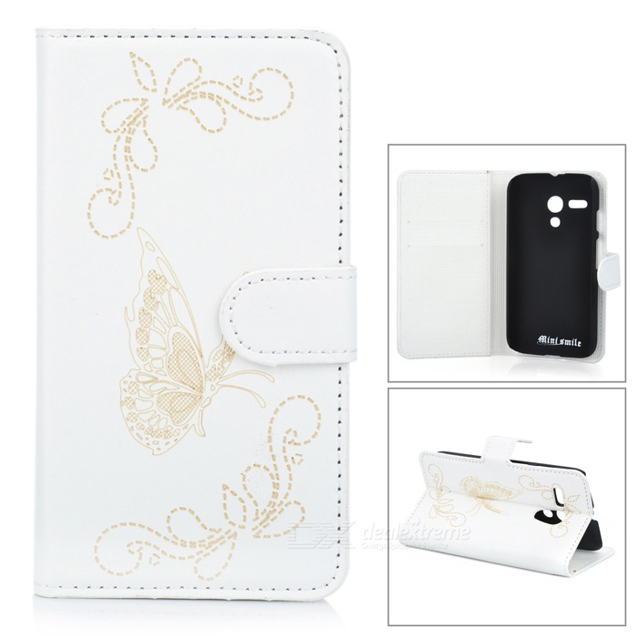 Protective Butterfly Style Flip Open PU Case w/ Stand + Card Slot for Motorola MOTO G - White protective flip open pu case w stand card slots for samsung galaxy s4 active i9295 black