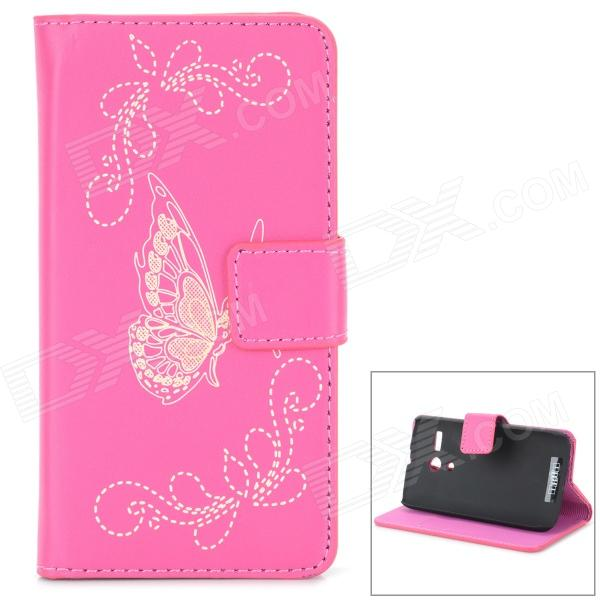 Protective Butterfly Style Flip Open PU Case w/ Stand + Card Slot for Motorola MOTO G - Deep Pink protective pu leather flip open case for iphone 4 4s deep pink