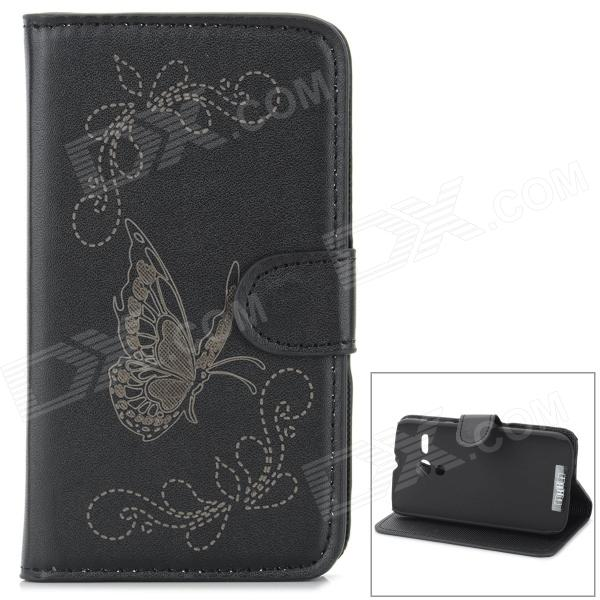Protective Butterfly Style Flip Open PU Case w/ Stand + Card Slot for Motorola MOTO G - Black protective flip open pu case w stand card slots for samsung galaxy s4 active i9295 black