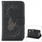 Protective Butterfly Style Flip Open PU Case w/ Stand + Card Slot for Motorola MOTO G - Black