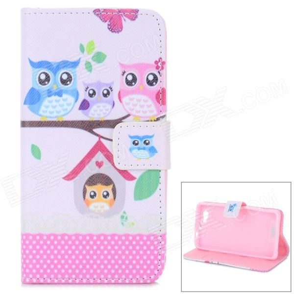 Cute Owl Pattern Stylish Flip Open PU Case w/ Stand / Card Slots for Sony Xperia Z1 Mini / D5503 huawei p8 lite