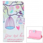 Cute Bird Pattern Flip Open PU Case w/ Stand / Card Slot for Sony Xperia Z1 Mini / D5503 / Xperia Z1