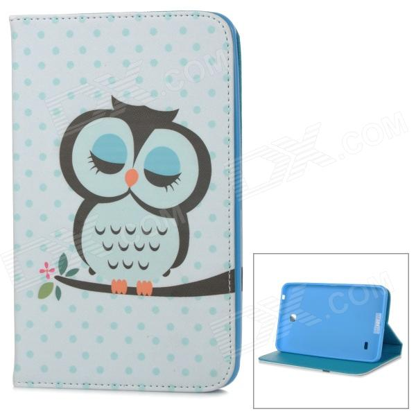 Stylish Owl Pattern Flip-open PU Case w/ Holder for 7 Samsung Galaxy Tab 4 / T230 / T231 / T235 kefo sm t230 sm t231 case for samsung galaxy tab 4 7 0 inch t230 t231 t235 flip pu leather case for tab 4 7 0 sm t230 cover