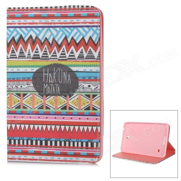 Stylish Patterned Flip-open PU Case w/ Holder for 8